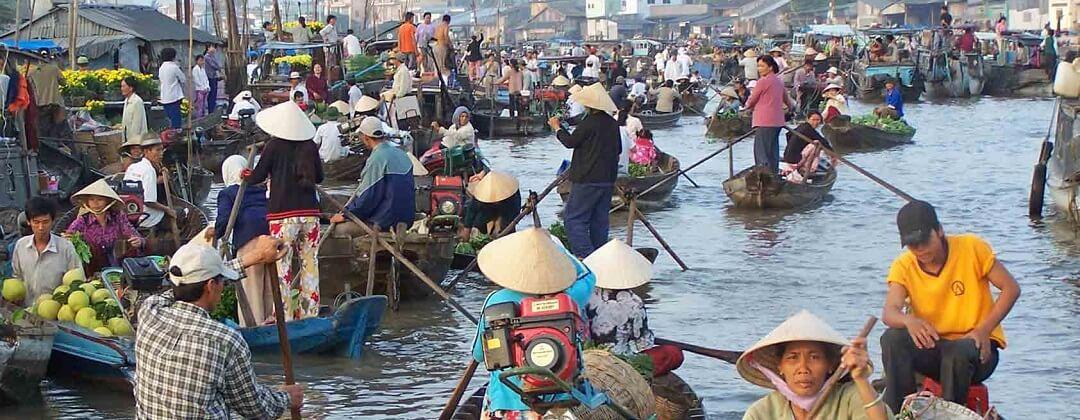 Cai Be Floating Market - Mekong Delta, Vietnam